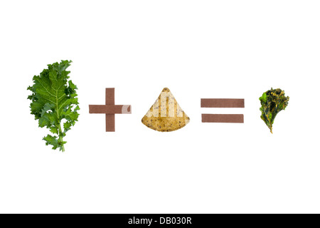 kale plus chip equals kale chip on white background - Stock Photo