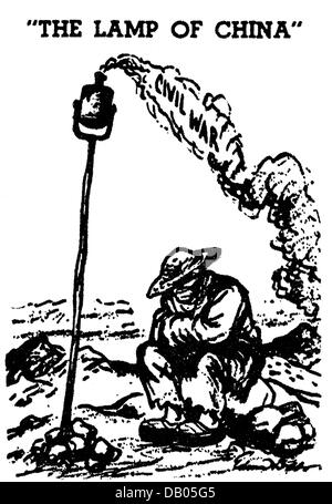 geography / travel, China, politics, Chinese Civil War, 1927 - 1950, drawing, 'The Lamp of China', illustration - Stock Photo