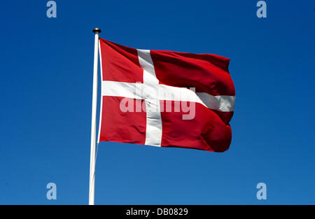 The picture shows the Danish flag, Roskilde, Denmark, 23 May 2007. The flag also calle the 'Dannebrog' is the oldest - Stock Photo