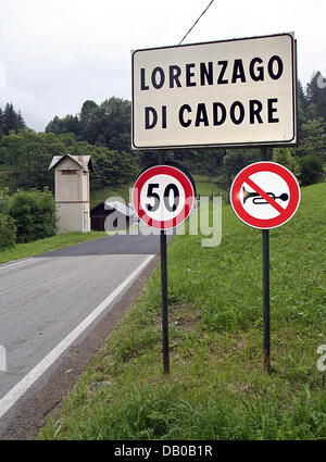 Drive carefully and do not honk entering Lorenzago di Cadore, Italy, 03 July 2007. As the Vatican telled on 10 March - Stock Photo