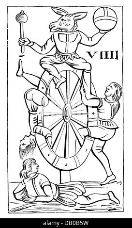 game, card, playing card, tarot, 16th century, Italy, wood engraving, collection of playing cards, Imperial library, - Stock Photo