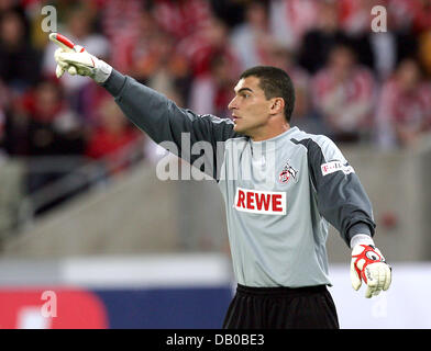 Cologne's goalkeeper Colombian Faryd Mondragon gives directions during the soccer friendly 1st FC Cologne vs FC - Stock Photo