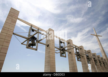 The picture shows the outdoor bells beside the new basilica Chiesa Padre Pio in San Giovanni Rotondo, Italy, 12 - Stock Photo