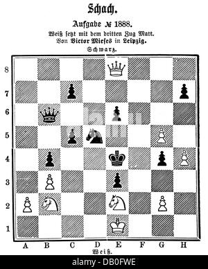 game, board game, chess, wood engraving, black mate in three move, by Viktor Mieses, 'Illustrirte Zeitung', Leipzig, - Stock Photo