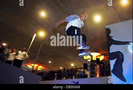 The picture shows a traceur during a parkour show at subway station Bundestag in Berlin, Germany, 29 August 2007. - Stock Photo