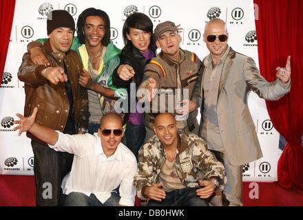 German hip-hop reggae latin band 'Culcha Candela' arrive for the music show 'The Dome 43' in Hamburg, Germany, 31 - Stock Photo