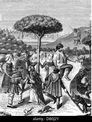 festivities, public festival, May celebration, peasants dancing, after miniature from a book of hours, 15th century, - Stock Photo