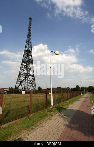 The picture shows the wooden radio tower of Gliwice, Poland, 16 August 2007. The radio tower is part of a museum - Stock Photo