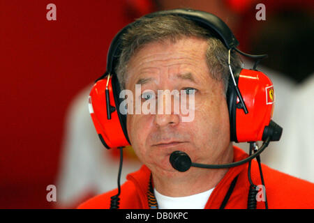 French Scuderia Ferrari CEO Jean Todt  is pictured in the team box during the third practice session of the Italian - Stock Photo