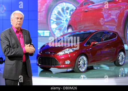 Ford Europa CEO John Fleming (R) presents the new Ford Verve Concept at the 62nd International Motor Show IAA in - Stock Photo