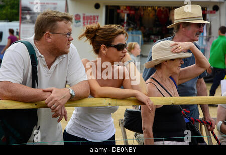 Alcester, Warwickshire. 21st July, 2013. Spectators watch an event in the ring at at the CLA Game Fair, Ragley Hall, - Stock Photo