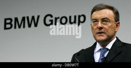BMW-CEO Norbert Reithofer presents the new company strategy at the headquarters in Munich, Germany, 27 September - Stock Photo