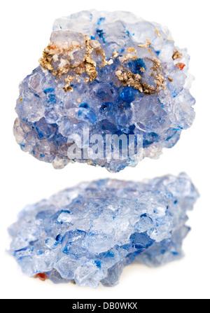 set of crystals of Celestine (celestite) isolated on white background - Stock Photo