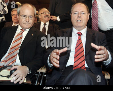 The President of Catalonia's Government, Jose Montilla Aguilera (L), and German Minister of Finances, Peer Steinbrueck, - Stock Photo