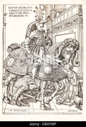 religion, christianity, saints, Saint George, half length, on horse, woodcut, by Hans Burgkmair (1473 - 1531), circa - Stock Photo