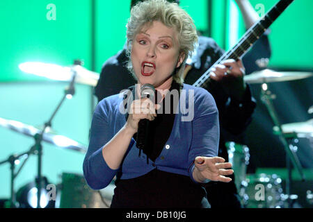 British singer Debbie Harry of Blondie performs during the videotaping of 'The Ultimate Chart Show - New Wave/Pop' - Stock Photo