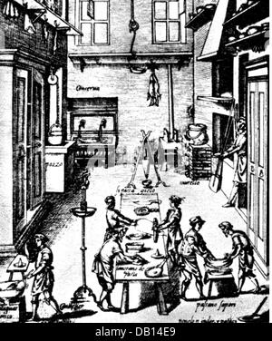 household, kitchen and kitchenware, preparation of pasta in the kitchen of an Italian palace, copper engraving, - Stock Photo
