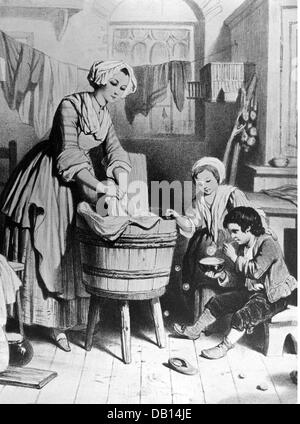 household, washing, woman washing the laundry in the tub, wood engraving, 19th century, 19th century, graphic, graphics, - Stock Photo