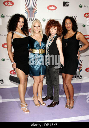 German pop band No Angels (L-R) Nadja Benaissa, Sandy Moelling, Lucy Diakowska and Jessica Wahls pose as they arrive - Stock Photo