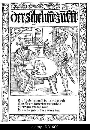 Murner, Thomas, 24.12.1475 - before 23.8.1537, German clergyman, humanist and author / writer, 'Die Schelmenzunfft', - Stock Photo