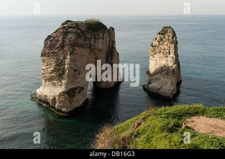 The popular Pigeon Rocks in Beirut, Lebanon - Stock Photo
