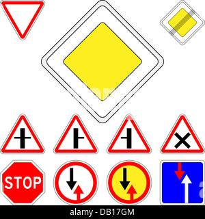 vector set of road signs priority - Stock Photo