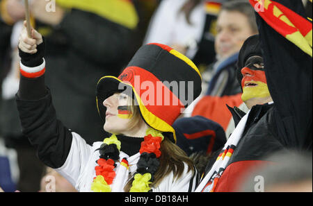 German fans are pictured prior to the group D Euro 2008 qualifying match Germany versus Cyprus at AWD-Arena in Hanover, - Stock Photo