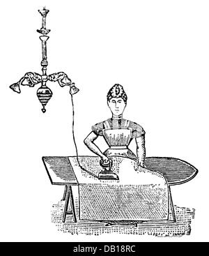 household, household appliance, electric iron, brass, polished, wood engraving, from: Friedrich Eduard Bilz, New - Stock Photo
