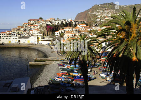 (dpa file) The file picture dated 2006 shows colourful fishing boats towed in teh harbour of Camara de Lobos, Portugal. - Stock Photo