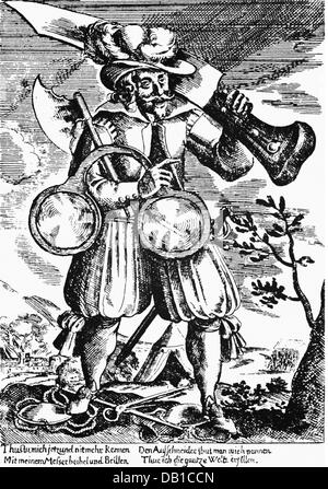 caricature, 'The Boaster', copper engraving, first half 17th century, private collection, Artist's Copyright has - Stock Photo