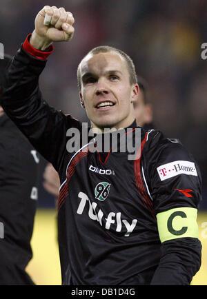 Goalkeeper Robert Enke of Hanover celebrates the victory after the Bundesliga match Hanover 96 vs Werder Bremen - Stock Photo