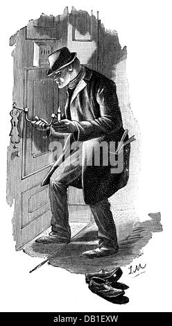 justice, crime, housebreaking, man cracking a door lock, wood engraving, 1891, Additional-Rights-Clearences-NA - Stock Photo