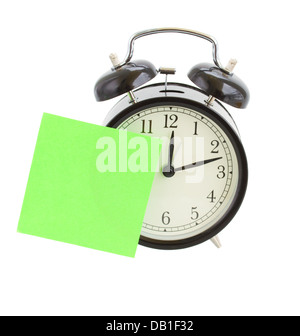 alarm clock with note - Stock Photo