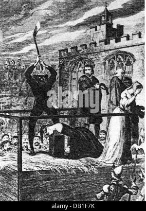 justice, penitentiary system, beheading, execution of Lady Jane Grey, Tower, London, engraving by George Cruikshank - Stock Photo