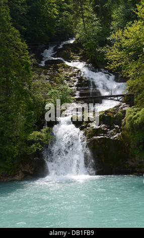 Lake Brienz is a lake in the Canon Berne in Switzerland, here the Giessbach falls - Stock Photo