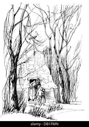 Literature Fairytale Grimm Brothers Hansel And Gretel At The Gingerbread House