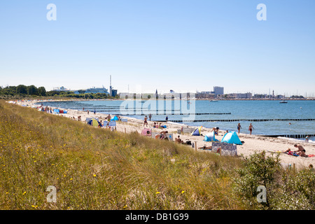 Hohe Duene with view back to Warnemuende, Warnemuende, Mecklenburg Vorpommern, Germany - Stock Photo