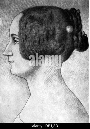 Storm, Constanze, 5.5.1825 - 24.5.1865, wife of Theodor Storm, portrait, drawing, 1843, - Stock Photo
