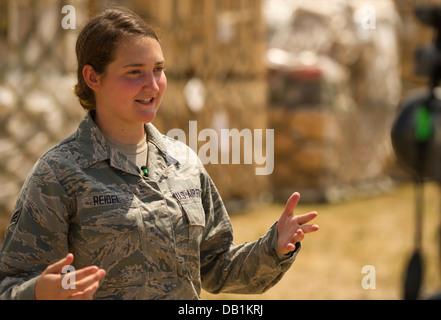 U.S. Air Force Reservist Senior Airman Michelle Reidel, an air transportation member from the 30th Aeroport Squadron, - Stock Photo