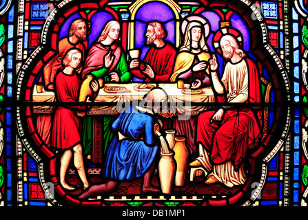 Ely Cathedral, 19th century stained glass window by William Wailes, Jacob and Rachael, 1849 - Stock Photo