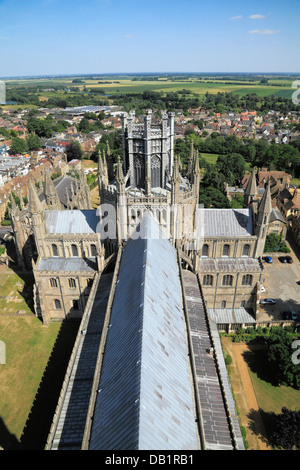 Ely Cathedral, Octagon tower, lantern nave roof and City, from West Tower, Cambridgeshire England UK English medieval - Stock Photo