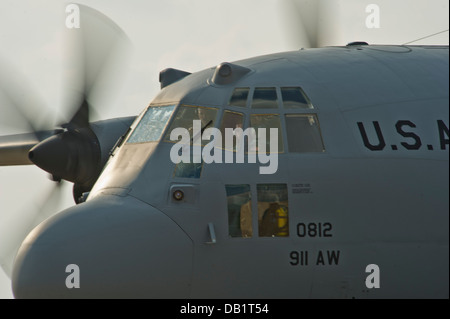 A U.S. Air Force C-130 Hercules cargo plane with the 911th Airlift Wing , Pittsburg International Airport Air Reserve - Stock Photo