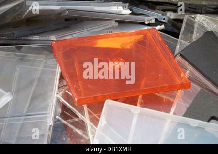 Old CD jewel cases. - Stock Photo