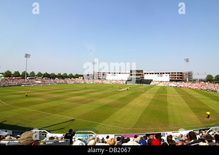 Crowd at Hampshire Royals and Kent Spitfires Twenty20 match, Ageas Bowl, Southampton,England, UK - Stock Photo