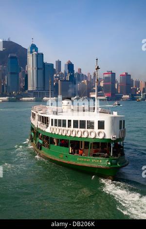 HONG KONG - DECEMBER 3: Ferry 'Meridian star' leaving Kowloon pier on December 3, 2010 in Hong Kong, China. Hong - Stock Photo