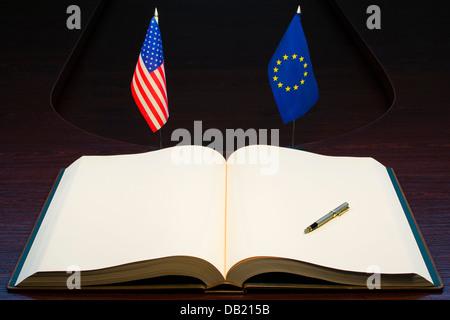 European Union (EU) - USA relations concept. - Stock Photo