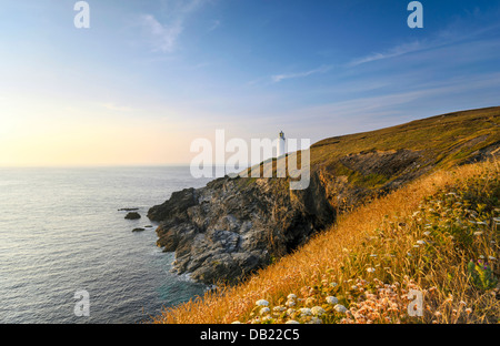The lighthouse at Trevose Head on Cornwall's rugged north coast. - Stock Photo