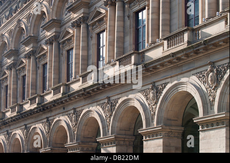 An abstract view of the Free Trade Hall on Peter Street in Manchester city centre. - Stock Photo