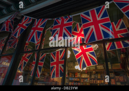 New York City, USA. 22nd July, 2013. British restaurant Tea & Sympathy joins other British themed stores on Greenwich Avenue in New York, known colloquially as 'Little Britain', all decked out in the Union Jack to celebrate the birth of Prince William and Kate's as yet unnamed boy. The child is third in line to the British throne. Credit:  Richard B. Levine/Alamy Live News
