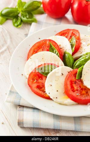 Homemade Organic Caprese Salad with Tomato and Mozzarella - Stock Photo